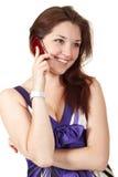 talande kvinnabarn för härlig mobil telefon Royaltyfria Bilder