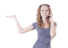 talande kvinnabarn för telefon Arkivfoton
