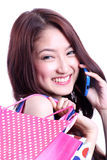 Talande mobiltelefon för asiatisk flicka Royaltyfri Fotografi