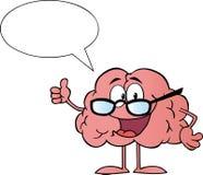 Talande slitage exponeringsglas för hjärntecken stock illustrationer