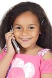 talande telefon för flicka Royaltyfri Foto