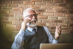 Talande telefon för hög affärsman lyckligt le arkivbild