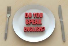 TALAR DU ENGELSKA? , meddelande på maträtt Royaltyfri Fotografi