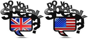 Talar du engelska och amerikan Arkivbilder