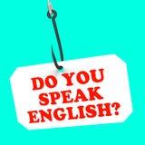 Talar du engelska? På utländskt krokhjälpmedel Arkivfoto