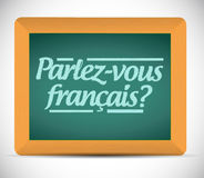 Talar du fransman. skriftligt i franskt stock illustrationer