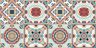 Talavera modell indisk patchwork Azulejos Portugal Turkisk prydnad Marockansk tegelplattamosaik royaltyfri illustrationer