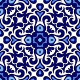 Floral ornament blue and white ceramic tile pattern seamless vector porcelain background design damask style. Talavera pattern. Azulejos portugal. Turkish vector illustration