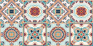 Talavera pattern. Indian patchwork. Azulejos portugal. Turkish ornament. Moroccan tile mosaic royalty free illustration