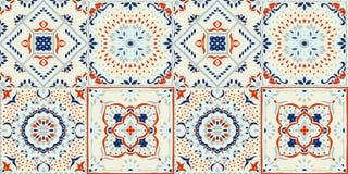 Talavera pattern. Indian patchwork. Azulejos portugal. Turkish ornament. Moroccan tile mosaic. Ceramic tableware, folk print. Spanish pottery. Ethnic royalty free illustration