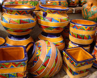 Talavera pots with traditional Mexican designs Stock Image