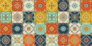 Talavera wzór indyjski patchwork Azulejos Portugal Turecki ornament Marokańczyk Dachówkowa mozaika ilustracji