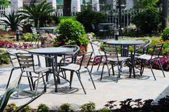 The talbe and chairs in the patio Stock Photography