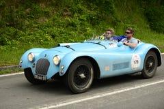 Talbot Lago Spider que corre en la raza de Mille Miglia Foto de archivo libre de regalías