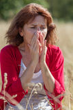 50-talbrunettkvinna som har pollenallergier i fält Royaltyfri Fotografi
