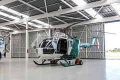 Police helicopter in the hangar Royalty Free Stock Photos