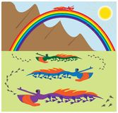 A tale. A cartoon illustration about a rainbow, sun and rainbow crocodiles. Vector hand drawing EPS 10 vector illustration