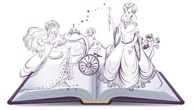 Tale of Cinderella. Open book fantasy tale. Fairy and Cinderella with the glass slipper Royalty Free Stock Photo