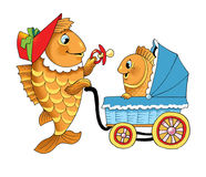 Tale fish. Figure humor pacifier stroller walk Royalty Free Stock Photography