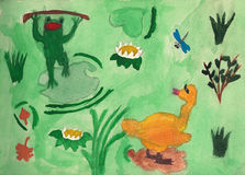 The tale of frog and duck on lake. Children drawing watercolor. Stock Images