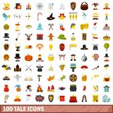100 tale icons set, flat style. 100 tale icons set in flat style for any design illustration royalty free illustration