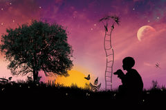 Tale from the little boy. Little boy on meadow with a jack ladder and a dandelion,tale illustration Stock Image