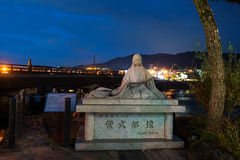 Tale monument and Uji Bridge, Kyoto Stock Image