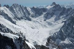 Talefre Glacier and summits on the Mt Blanc Royalty Free Stock Image