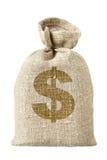 Talega con símbolo del dólar Imágenes de archivo libres de regalías
