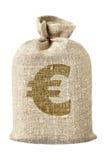 Talega con símbolo euro Fotografía de archivo libre de regalías