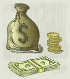 Talega y moneda Fotografía de archivo libre de regalías