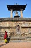 Taleju响铃在Patan Durbar广场南入口的Hari尚卡尔寺庙  库存图片