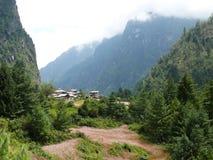 Talekhu village and buckwheat fields, Nepal Royalty Free Stock Photos