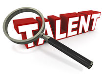 Talent. Magnifying glass looking over talent word in detail, red text, white background, concept of talent and skills Stock Photos