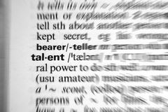 Talent. Dictionary word talent with focusing zoom effect stock image