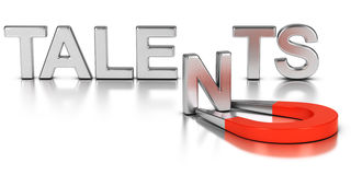 Talent Acquisition Strategy. Talent acquisition illustration concept, letter N of the word talents attracted and retained by a magnet over white background Stock Photos