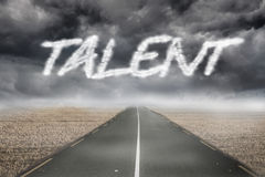 Talent against misty brown landscape with street. The word talent against misty brown landscape with street vector illustration
