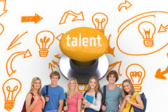 Talent against yellow push button. The word talent and smiling students wearing backpacks and holding books in their hands against yellow push button stock photos