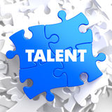 Talent on Blue Puzzle. Talent on Blue Puzzle on White Background Stock Photography