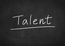 Talent concept word. On blackboard background stock photos