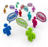 Talent Diverse People Job Applicants Skilled Interview Prospects. Talent word in speech bubbles over heads of diverse job applicants and skilled workers looking Stock Images