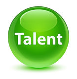 Talent glassy green round button Stock Images