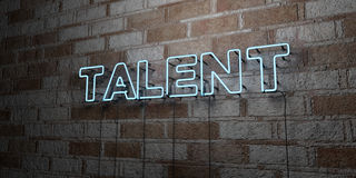 TALENT - Glowing Neon Sign on stonework wall - 3D rendered royalty free stock illustration Stock Image