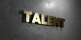 Talent - Gold sign mounted on glossy marble wall  - 3D rendered royalty free stock illustration Stock Photo