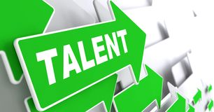 Talent on Green Direction Arrow Sign. Talent on Direction Sign - Green Arrow on a Grey Background Stock Photography