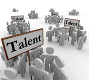 Talent Groups People Job Prospects Candidates Applicants Signs. Talent signs with clusters or groups of people, job candidates, applicants, and skilled workers vector illustration