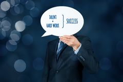 Talent and hard work make success. Businessman or manager motivate to success stock image