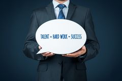 Talent and hard work make success. Businessman or manager motivate to success stock photos