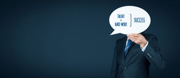Talent and hard work make success. Businessman or manager motivate to success stock photography