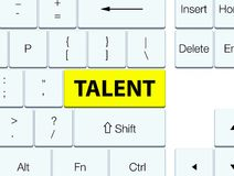 Talent yellow keyboard button. Talent isolated on yellow keyboard button abstract illustration Royalty Free Stock Photo